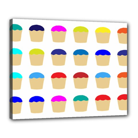Colorful Cupcakes Pattern Canvas 20  X 16
