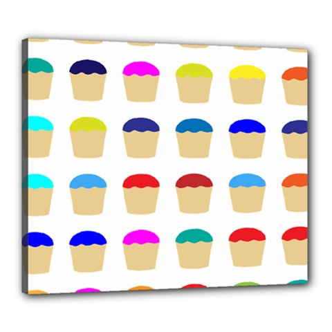 Colorful Cupcakes Pattern Canvas 24  x 20