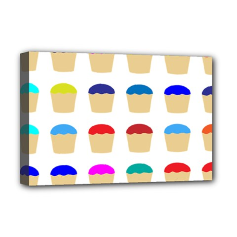 Colorful Cupcakes Pattern Deluxe Canvas 18  x 12