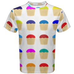 Colorful Cupcakes Pattern Men s Cotton Tee