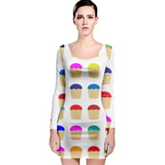 Colorful Cupcakes Pattern Long Sleeve Bodycon Dress
