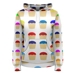 Colorful Cupcakes Pattern Women s Pullover Hoodie