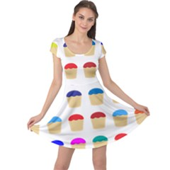 Colorful Cupcakes Pattern Cap Sleeve Dresses