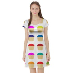 Colorful Cupcakes Pattern Short Sleeve Skater Dress