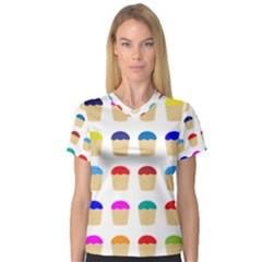 Colorful Cupcakes Pattern Women s V Neck Sport Mesh Tee