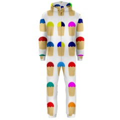Colorful Cupcakes Pattern Hooded Jumpsuit (men)