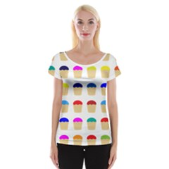 Colorful Cupcakes Pattern Women s Cap Sleeve Top
