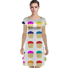Colorful Cupcakes Pattern Cap Sleeve Nightdress