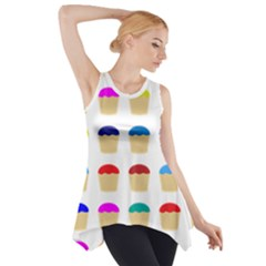 Colorful Cupcakes Pattern Side Drop Tank Tunic