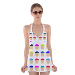 Colorful Cupcakes Pattern Halter Swimsuit Dress
