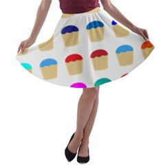 Colorful Cupcakes Pattern A Line Skater Skirt