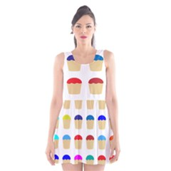 Colorful Cupcakes Pattern Scoop Neck Skater Dress