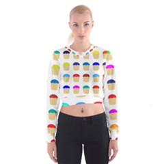 Colorful Cupcakes Pattern Cropped Sweatshirt