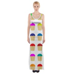 Colorful Cupcakes Pattern Maxi Thigh Split Dress