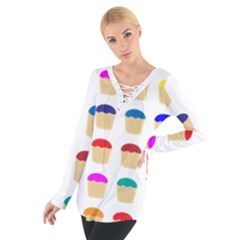 Colorful Cupcakes Pattern Women s Tie Up Tee