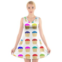 Colorful Cupcakes Pattern V Neck Sleeveless Skater Dress