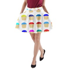 Colorful Cupcakes Pattern A Line Pocket Skirt