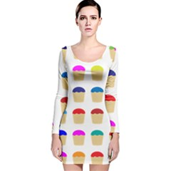 Colorful Cupcakes Pattern Long Sleeve Velvet Bodycon Dress