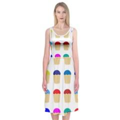 Colorful Cupcakes Pattern Midi Sleeveless Dress