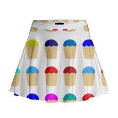 Colorful Cupcakes Pattern Mini Flare Skirt
