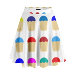 Colorful Cupcakes Pattern High Waist Skirt