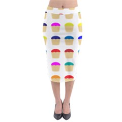 Colorful Cupcakes Pattern Midi Pencil Skirt