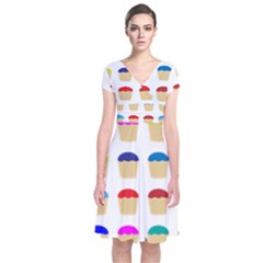 Colorful Cupcakes Pattern Short Sleeve Front Wrap Dress