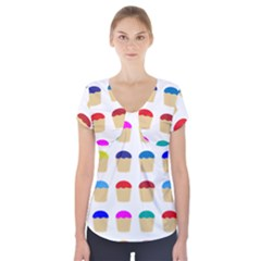 Colorful Cupcakes Pattern Short Sleeve Front Detail Top