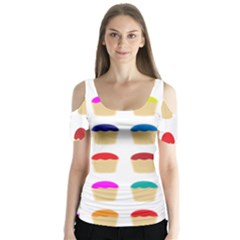 Colorful Cupcakes Pattern Butterfly Sleeve Cutout Tee