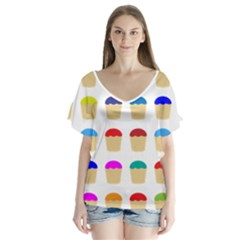 Colorful Cupcakes Pattern Flutter Sleeve Top
