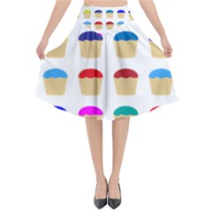 Colorful Cupcakes Pattern Flared Midi Skirt