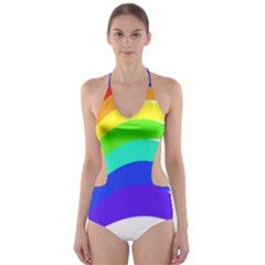 Rainbow Cut Out One Piece Swimsuit