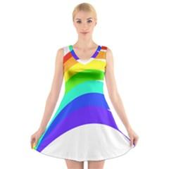 Rainbow V-Neck Sleeveless Skater Dress