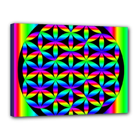 Rainbow Flower Of Life In Black Circle Canvas 16  x 12