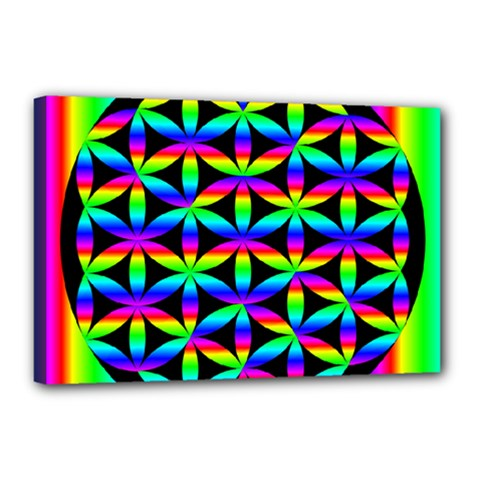 Rainbow Flower Of Life In Black Circle Canvas 18  x 12