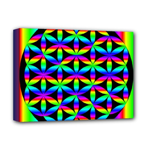 Rainbow Flower Of Life In Black Circle Deluxe Canvas 16  x 12