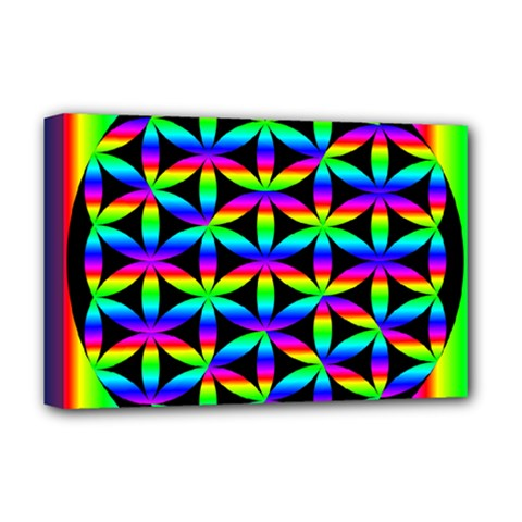 Rainbow Flower Of Life In Black Circle Deluxe Canvas 18  x 12