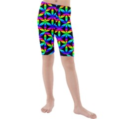 Rainbow Flower Of Life In Black Circle Kids  Mid Length Swim Shorts