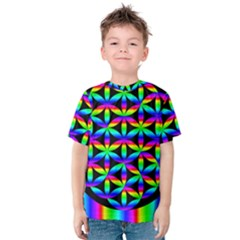 Rainbow Flower Of Life In Black Circle Kids  Cotton Tee