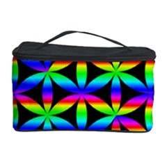 Rainbow Flower Of Life In Black Circle Cosmetic Storage Case