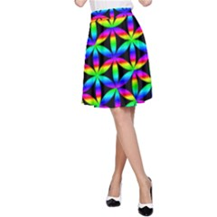 Rainbow Flower Of Life In Black Circle A Line Skirt