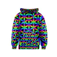 Rainbow Flower Of Life In Black Circle Kids  Pullover Hoodie