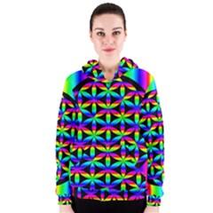 Rainbow Flower Of Life In Black Circle Women s Zipper Hoodie