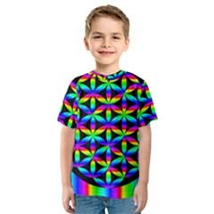 Rainbow Flower Of Life In Black Circle Kids  Sport Mesh Tee