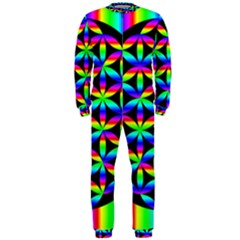 Rainbow Flower Of Life In Black Circle Onepiece Jumpsuit (men)