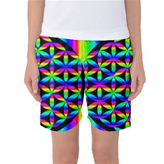 Rainbow Flower Of Life In Black Circle Women s Basketball Shorts