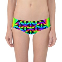 Rainbow Flower Of Life In Black Circle Classic Bikini Bottoms