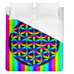 Rainbow Flower Of Life In Black Circle Duvet Cover (queen Size)
