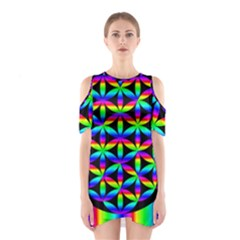 Rainbow Flower Of Life In Black Circle Shoulder Cutout One Piece