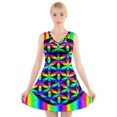 Rainbow Flower Of Life In Black Circle V Neck Sleeveless Skater Dress